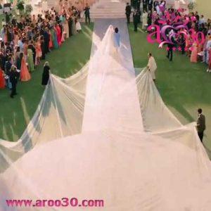 تور 23 متری و لباس عروسی بسیار زیبای پریانکا چوپرا