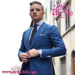 ست رنگ پیراهن با کت و شلوار آبی